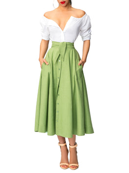 """Aretha"" Belted Green Button-Down Skirt"