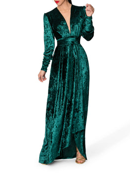 """Jovie"" Emerald Wrap-Effect Maxi Dress"