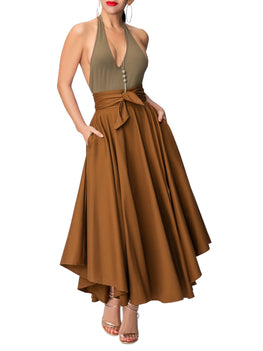 """Jenna"" Coco Belted Midi Skirt"
