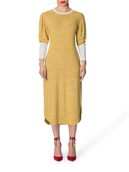 """Faith"" Yellow Sweater Dress"