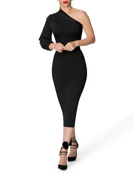 """Noelle"" Black One Shoulder Dress"