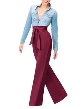 """Eleanor"" Raisin Belted High Waist Pants"