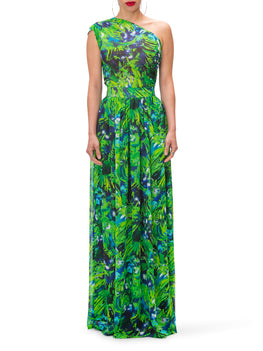 """Hyacinth"" One Shoulder Print Maxi Dress"