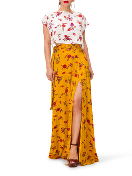 """Zinnia"" Floral Crop Top w/Side Slits"