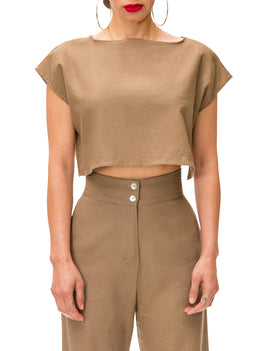 """Camellia"" Khaki Linen Crop Top w/Side Slits"
