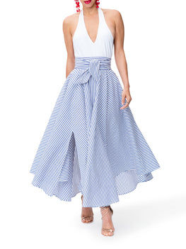 """Santorini"" Striped Belted Midi Skirt"