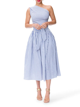 """Monaco"" Striped One Shoulder Midi Dress"