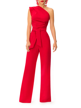 """Bia"" One Shoulder Drape Jumpsuit w/Belt"