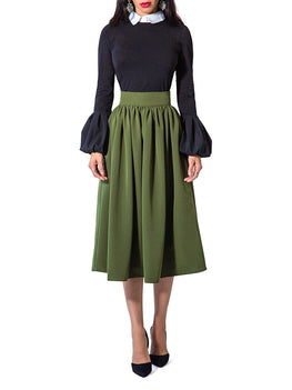 """Bri"" Gathered Midi Skirt"