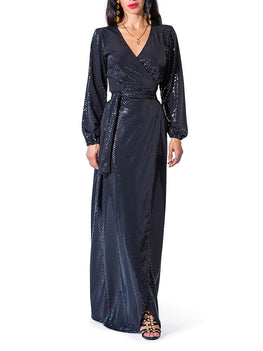 """Diana"" Sparkly Wrap Maxi Dress"