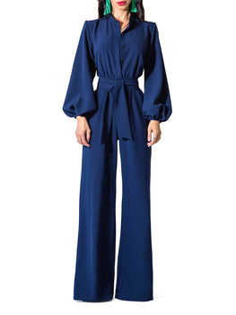 """Linda"" Navy Bell Sleeve Wide Leg Jumpsuit"