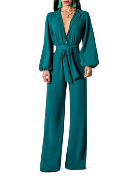 """Philo"" Bell Sleeve Wide Leg Jumpsuit"