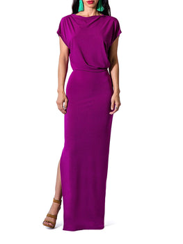 """Flo"" Drape Maxi Dress w/Side Slit"