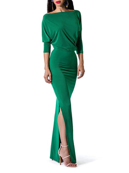 """Cindy"" Drape Maxi Dress w/Side Slit"