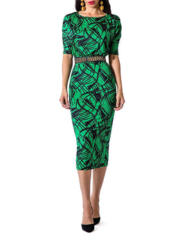 """Lucy"" Printed Dolman Sleeve Midi Dress"