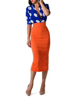 """Cyn"" Tangerine Pencil Skirt"