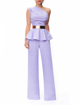 """Mykonos"" Lavender One Shoulder Peplum Top"