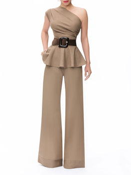 """Barcelona"" Khaki One Shoulder Peplum Top"
