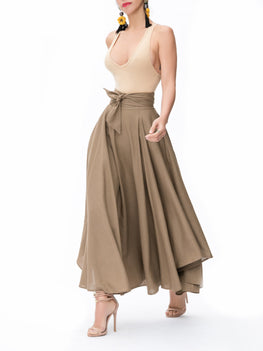 """Tulum"" Khaki Belted Midi Swing Skirt"