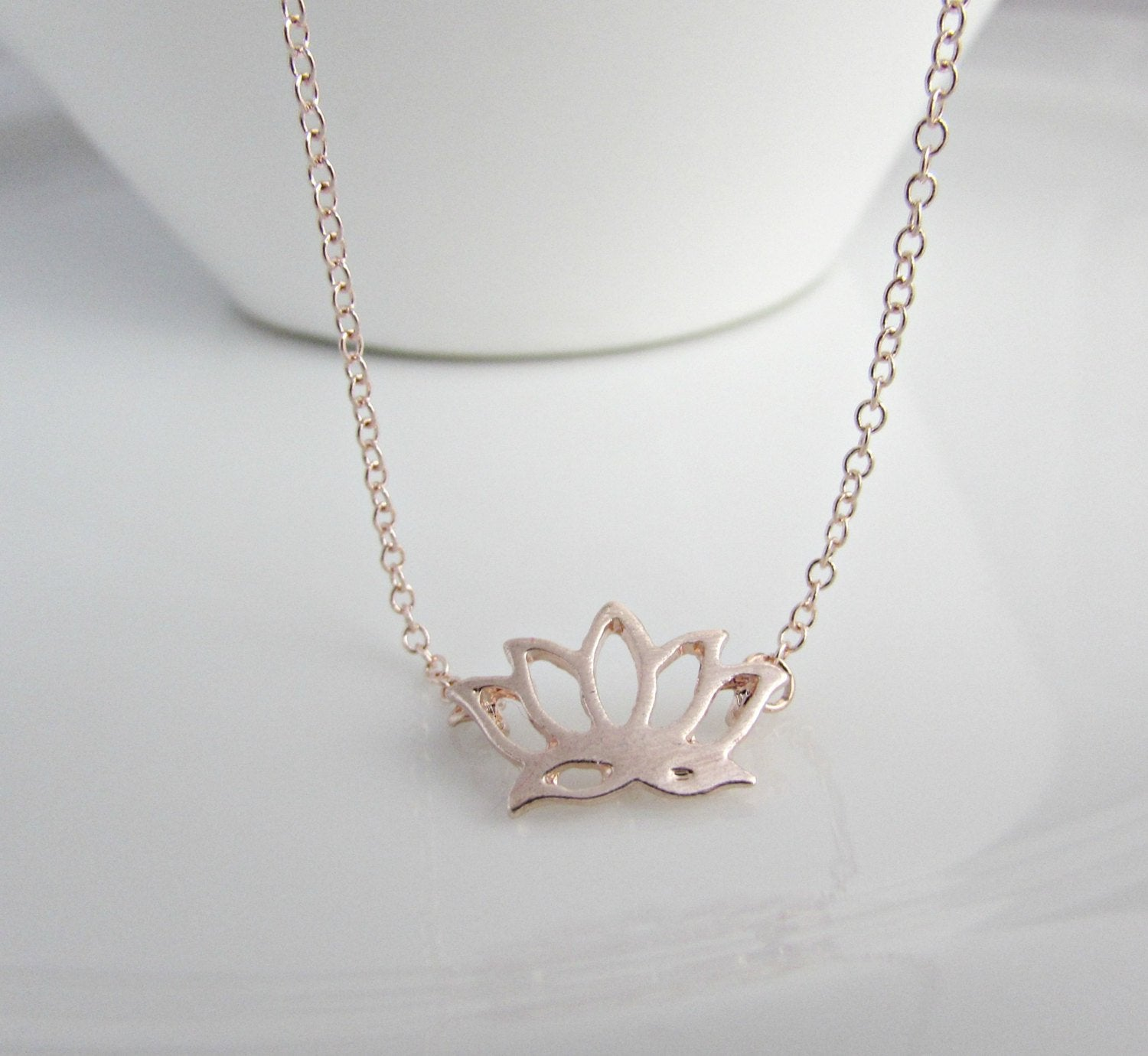 Rose Gold Lotus Flower Necklace Little English Jewellery