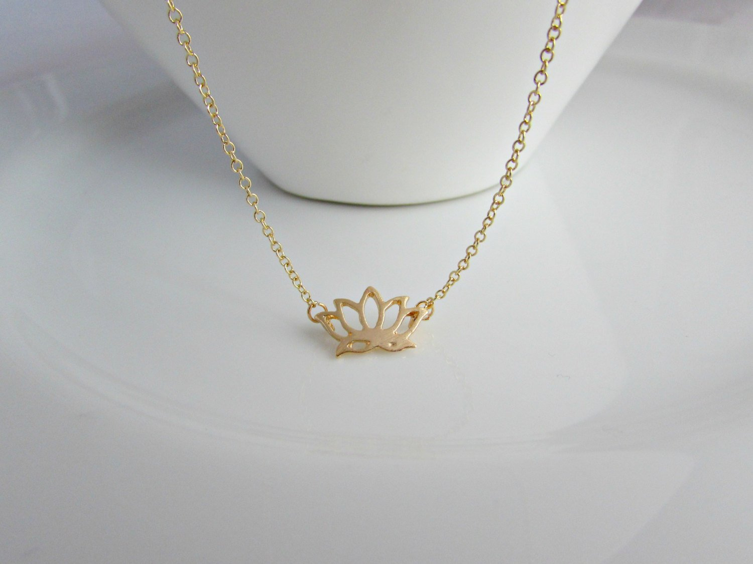 Gold Lotus Flower Necklace Little English Jewellery