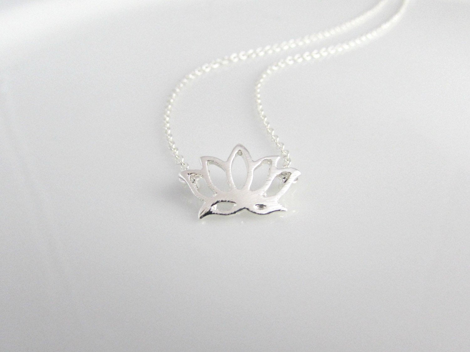 Silver Lotus Flower Necklace Little English Jewellery