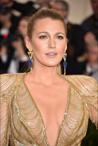 Blake Lively in a glam gold dress on the red carpet
