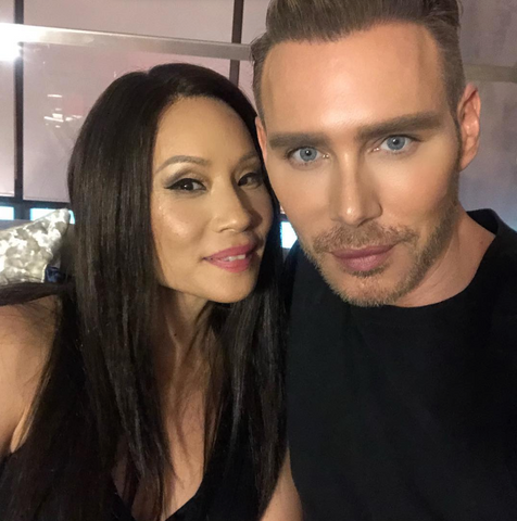 Kristofer Buckle takes a selfie with Lucy Liu