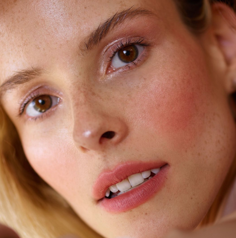 Alt Text: A close up picture of a model's face with light makeup.