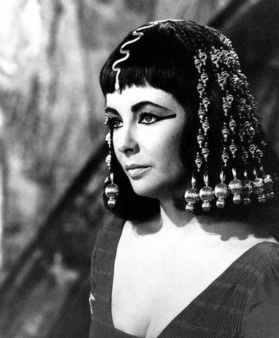 Elizabeth Taylor is photographed on set of the Cleopatra movie