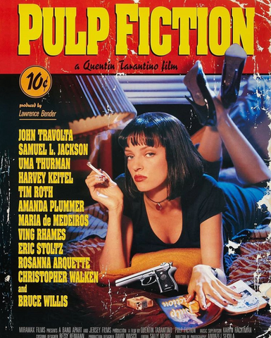 The Movie poster of Quentin Tarantino's film 'Pulp Fiction'