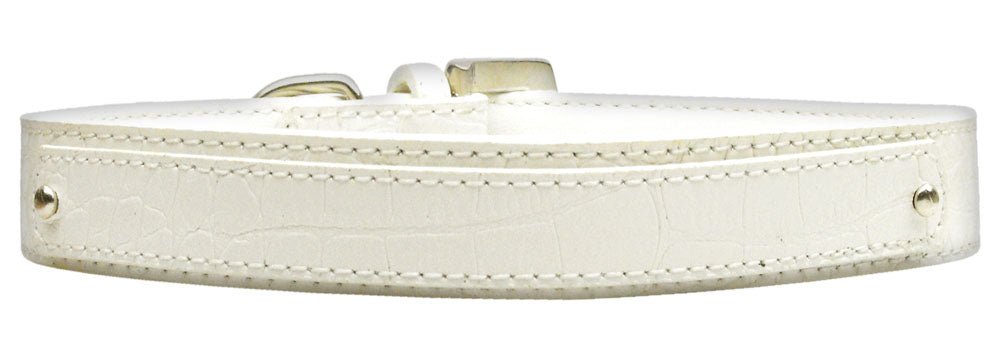 18mm  Two Tier Faux Croc Collar White Medium - Baby Buggy Outlet LLC