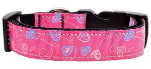 Crazy Hearts Nylon Collars Bright Pink Large