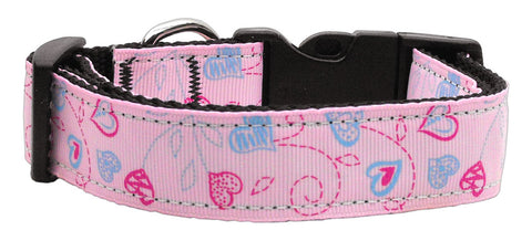 Crazy Hearts Nylon Collars Light Pink XS