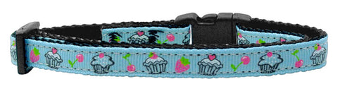 Cupcakes Nylon Ribbon Collar Baby Blue Cat Safety
