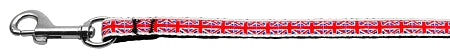 Tiled Union Jack(UK Flag) Nylon Ribbon Leash 3/8 wide 6ft Long