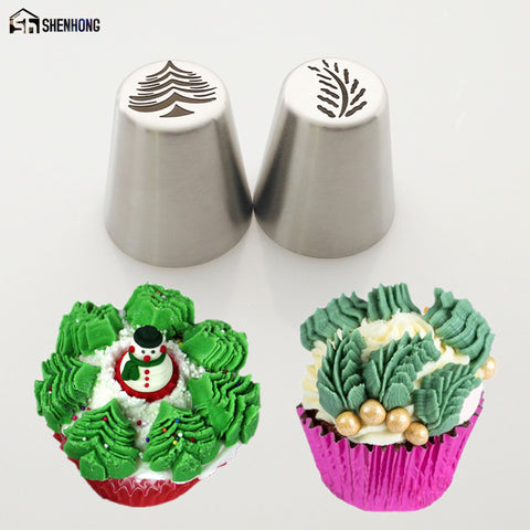 SHENHONG 2PCS Christmas Tree Icing Piping Tips Special Russian Leaf Nozzle Bakeware Cupcake Cake Decorating Pastry Baking Tools