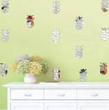 12PCS Pineapple Mirror Decoration Sticker