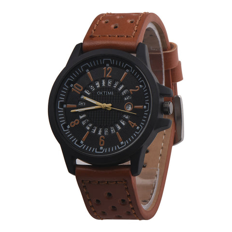 Fashion  Men Retro Design Leather Band Analog Alloy Quartz Wrist Watch