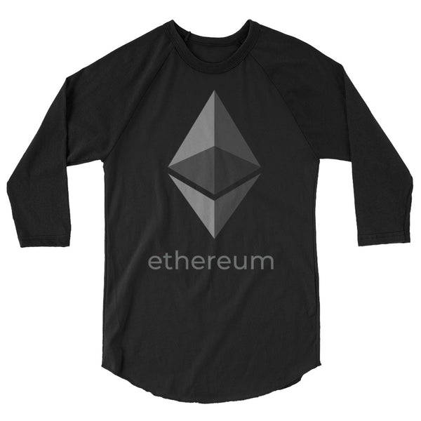 Ethereum Logo with Text 3/4 Baseball T-Shirt
