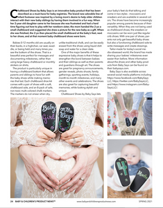 Baby Says Chalkboard Shoes Included in Baby & Children's Product News Trade Publication!