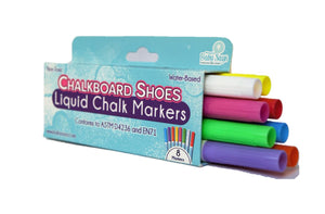 Chalkboard shoes liquid chalk markers, non-toxic and safe for children! Markers come in 8 colors: blue, white, yellow, red, pink, purple, green, and orange.