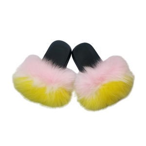 Soft Pink and Yellow Baby Fur Slides | Pompom slippers - Baby Says