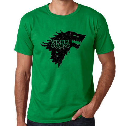 Game Of Thrones Print Winter Is Coming Stark Blood Wolf Men T Shirt