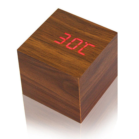 USB/AAA Powered Cube LED Digital Alarm Clock Square Wood Thermometer