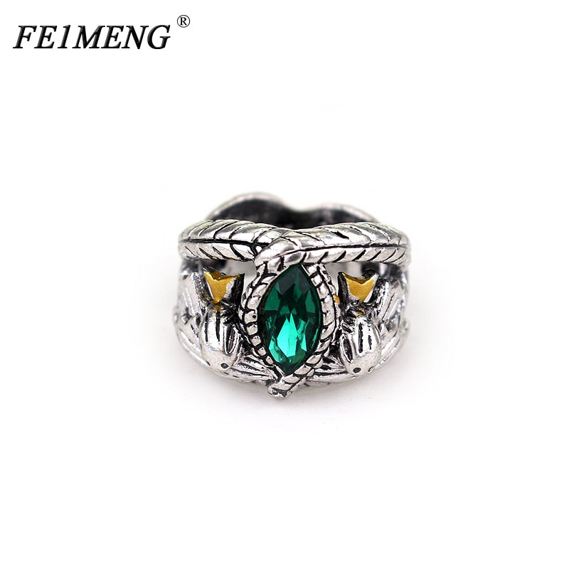 Aragorn's Ring of Barahir Retro Silver Green Crystal