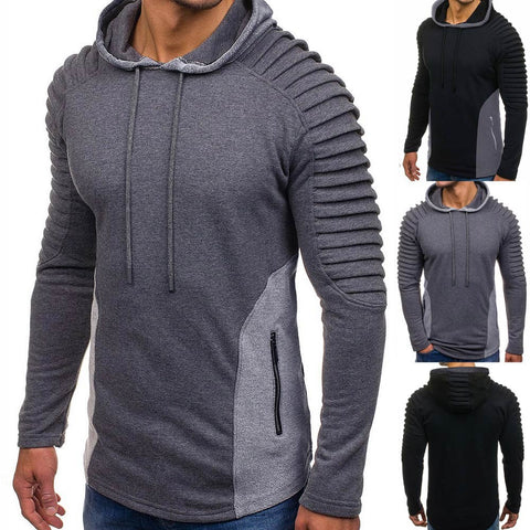 Men Hoodies Long Sleeve Sweatshirt Fashion Fold Zipper Pocket Cotton Jersey Casual Hip Hop