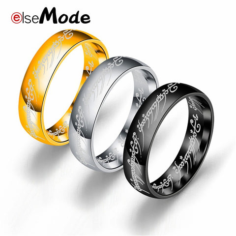 New Stainless Steel One Ring of Power the Lord of One Ring Lovers Women Men Fashion Jewelry