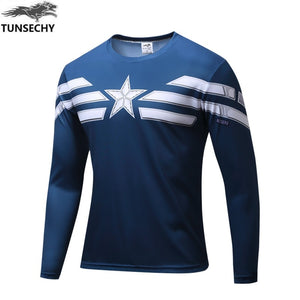Marvel Captain America T shirt manga larga