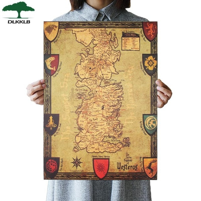Game of Thrones Westeros Map Retro Kraft Paper Poster 42X36cm